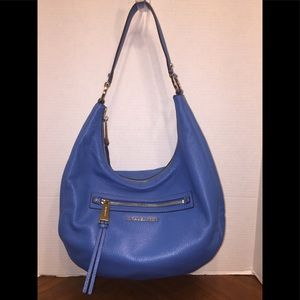 Michael Michael Kors Pebbled Blue Leather Hobo Bag